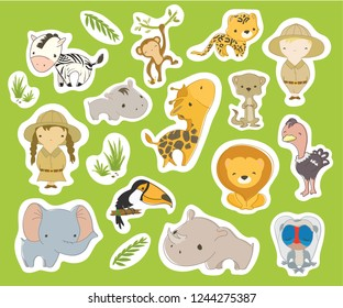 Set of cute safari tour stickers. Hand drawn vector illustration. Minimalistic kid style characters in white outline.