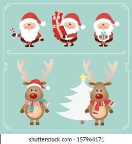 Set of cute santa claus and Christmas deer. Vector illustration