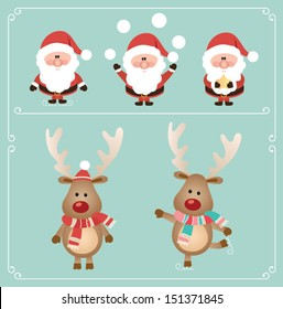 Set of cute santa claus and rudolph reindeer. Vector illustration