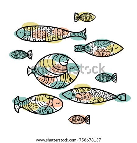 Set Cute Sea Ocean Fish Patterns Stock Vector Royalty Free Cool Fish Patterns
