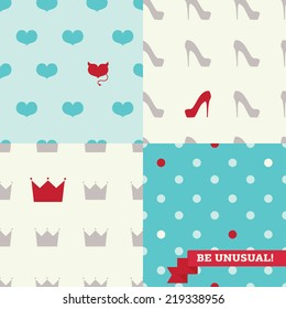 set of cute seamless backgrounds with one unusual element, vector illustration