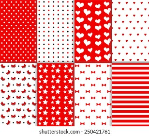 Set of cute seamless big and small polka dot, lined textile and stars, hearts, bow, ribbon and stripes pattern in red, black and white color. Vector art image illustration background, simple design