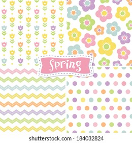 Easter frame shutterstock set of cute seamless retro background patterns in spring colors for baby mothers day negle Images