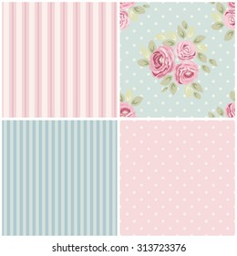 Set of cute seamless Shabby Chic patterns with roses, polka dot and striped, ideal for kitchen textile or bed linen fabric or interior wallpaper design, can be used for scrap booking paper etc