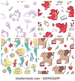 Set of cute seamless vector patterns with mythical creatures - unicorn, dragon, mermaid and griffin.