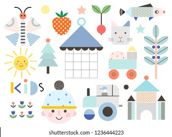 Set of cute shapes and baby elements. Different creative and fun graphic items. Poster for kids. Vector