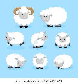 Set of cute sheeps in cartoon style. Vector illustration.