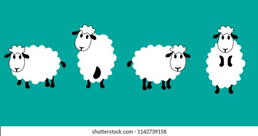 set of cute sheeps in different positions,cartoon style, vector illustration