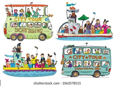 A set of cute sightseeing vehicles. Buses and boats. Cartoon.