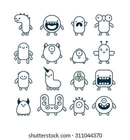 set of cute simple cartoon monsters