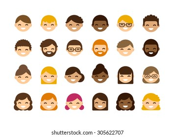 Set of cute and simple flat vector avatars. Diverse men and women.