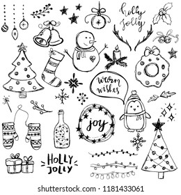 Set of cute and simple hand drawn Christmas elements, including trees, snowflakes, balls and so on