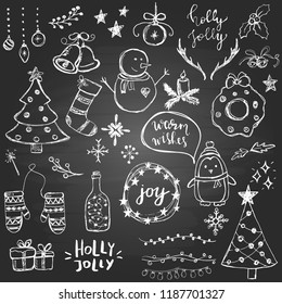 Set of cute and simple hand drawn Christmas elements, including trees, snowflakes, balls on the blackboard background