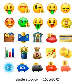 Set of cute smiley emoticons, emoji design, bicoin, business, crypto currency icons, vector ilustration.