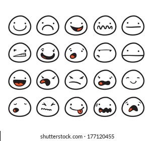 Set of cute smiley faces with different expressions