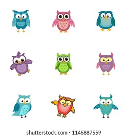 Set cute smiling happy owl graphic design template. Tee print, shirt, embroidery, flat design for kids fashion textile. Animal concept vector illustration collection