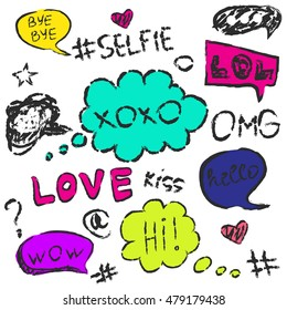 set of cute speech bubble with text,