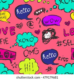 set of cute speech bubble with text,Seamless pattern background with handdrawn comic book speech bubbles, vector illustration.