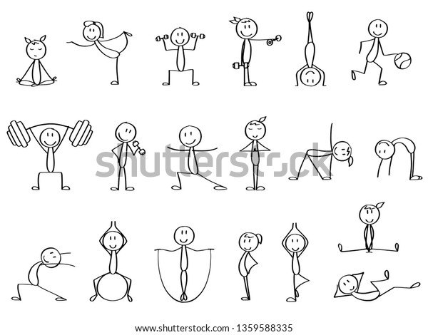 Set Cute Stick Figures Making Sports Stock Vector (Royalty Free