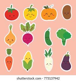 set of cute sticker vegetables vector