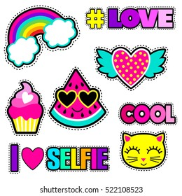 Set of cute stickers and different elements with watermelon, rainbow, cake, heart, cat and words.Girlish stickers in bright colors isolated on white background. Fashion patch, badges in cartoon style.