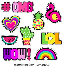 Set of cute stickers with hearts,pineapple,rainbow,cactus,flamingo and hashtags  elements WOW, LOL, OMG. Girlish stickers in bright colors isolated on white background. Fashion patch in cartoon style.