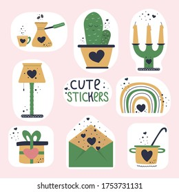 Set of cute stickers. Objects, symbols and sings for task scheduler, organizer or diary. Candles, envelope, cactus, rainbow, saucepan, gift, coffee cup and pot, lamp.