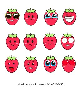 Set of cute  strawberry emoticons,emoji flat design, vector illustration.
