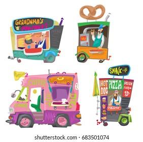 Set of cute street food kiosks. Sketch