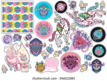 Set of cute stylish stickers. ready for print. isolated for you design
