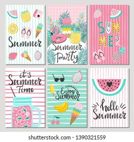 Set of cute summer cards and posters with hand drawn lettering typography words , Hello Summer, summer party, summer time and fruits, flamingos, palm leaves and textured background