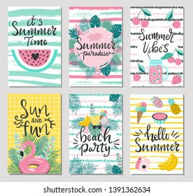 Set of cute summer cards and posters with hand drawn lettering typography words , Hello Summer, beach party, summer vibes and fruits, flamingos, palm leaves and textured background