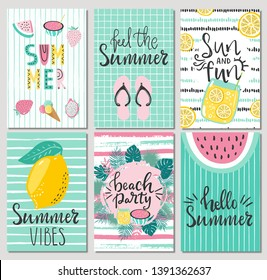 Set of cute summer cards and posters with hand drawn lettering typography words , Hello Summer, beach party, feel the summer and fruits, flamingos, palm leaves and textured background