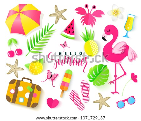 473ab10cbcbf Set Cute Summer Elements Pink Flamingo Stock Vector (Royalty Free ...