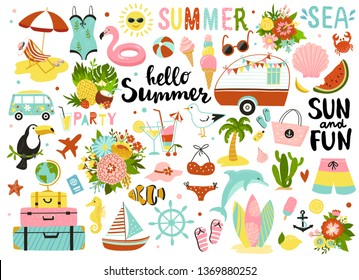 Set of cute summer elements: sun, palm tree, beach umbrella, calligraphy, tropical flowers and birds. Perfect for summertime poster, card, scrapbooking , tag, invitation, sticker kit.  Hand drawn vect