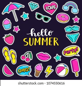 Set of cute summer fashion patches, strawberry, slippers, bikini, beach umbrella, ball,ice-cream, donut, lips, watermelon, cherry, cupcake, speech bubbles etc. Cartoon stickers. Vector illustration