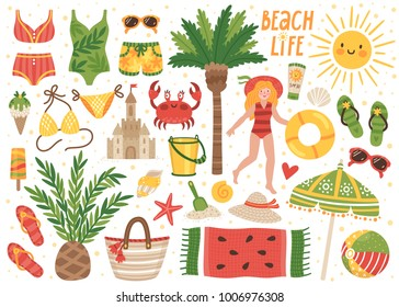 Set of cute summer icons: bikini, flip flops, beach umbrella, towel, ball, sand castle, palms, girl with life buoy, sun. Bright summertime poster. Collection of scrapbooking elements for beach party.
