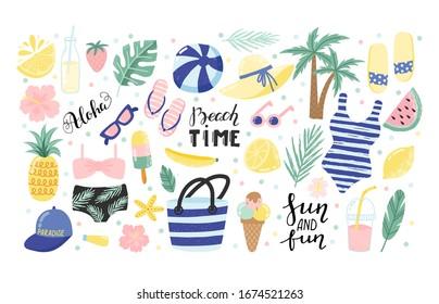 Set of cute summer icons: bikini, flip flops, ball, sand castle, palms, straw hat, beach bag