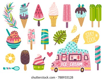 Set of cute summer icons: different ice cream, popsicles, fruit ice and ice cream truck. Bright summertime poster with sweet food. Collection of scrapbooking elements for summer party.