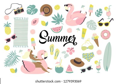 Set of cute summer icons: food, drinks, ice cream, fruits, sunglasses, palm leaves and flamingo inflatable swimming pool ring. Summertime collection of scrapbooking elements for beach party.