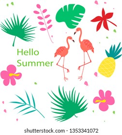 Set of cute summer icons: food, palm leaves, fruits and flamingo. Bright summertime poster. Collection of scrapbooking elements for beach party.