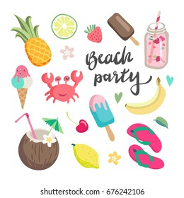 Set of cute summer icons, hand drawn elements- calligraphy, flowers, pineapple, tropical leaf, cocktails and ice cream. Perfect for web, card, poster,sticker kit. Vector illustration