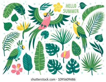 Set of cute summer icons: parrots, exotic flowers and palm leaves. Bright summertime poster with cartoon characters. Collection of scrapbooking elements for beach party invites.