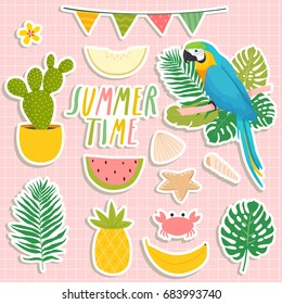 set of cute summer stickers. cute parrot, cacti, palm leaves, food and drink stickers. design for summer cards, posters or party invitations