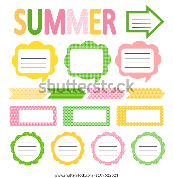 Set Cute Summer Style Daily Planner Stock Image Download Now