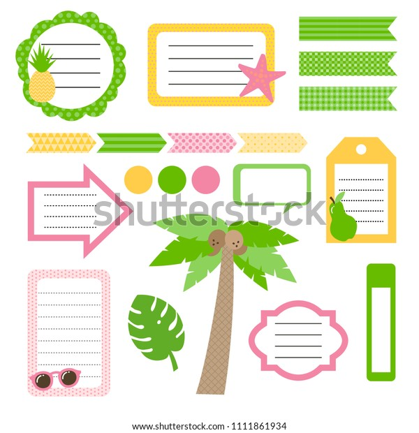 Set Cute Summer Style Daily Planner Stock Vector Royalty