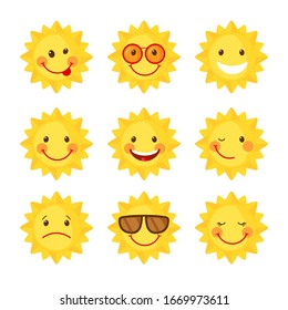 Set of cute Sun icons in flat style isolated on white background. Emoji. Smiling cartoon summer emoticons. Vector illustration.
