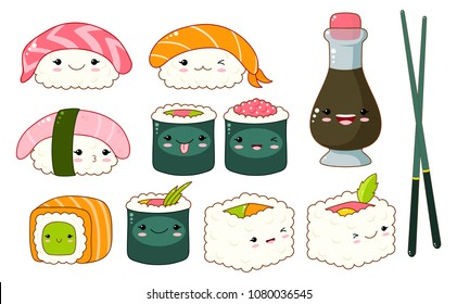Set of cute sushi and rolls icons in kawaii style with smiling face and pink cheeks. Japanese traditional cuisine dishes. Bottle with soy souse, chopsticks, nigiri, tamago, uramaki, futomaki. EPS8