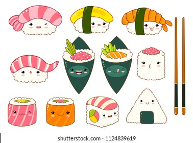 Set of cute sushi and rolls icons in kawaii style with smiling face and pink cheeks. Japanese traditional cuisine dishes. Temaki, chopsticks, nigiri, tamago, uramaki, futomaki. EPS8