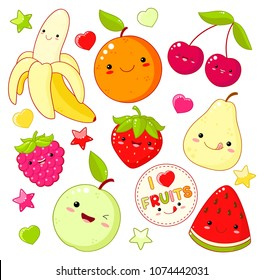 Set of cute sweet fruit icons in kawaii style with smiling face and pink cheeks. Sticker with inscription I love fruits. Apple, pear, cherry, orange, strawberry, watermelon, banana. EPS8